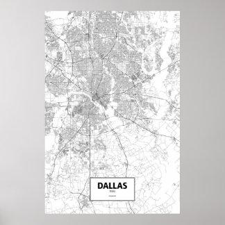 Dallas, zwart Texas (op wit) Poster