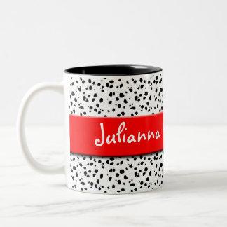 Dalmatische Druk met Rood en Naam Tweekleurige Koffiemok