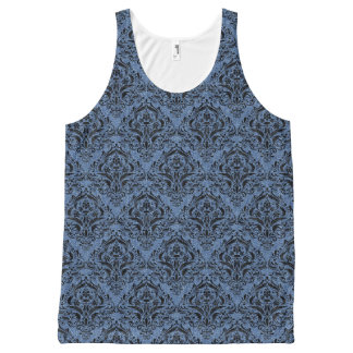 DAMASK1 ZWART MARMEREN & BLAUW DENIM (R) All-Over-Print TANK TOP