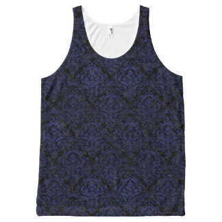 DAMASK1 ZWART MARMEREN & BLAUW LEER All-Over-Print TANK TOP