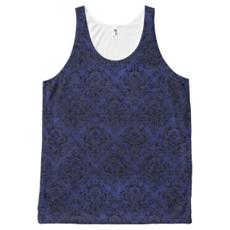 DAMASK1 ZWART MARMEREN & BLAUW LEER (R) All-Over-Print TANK TOP