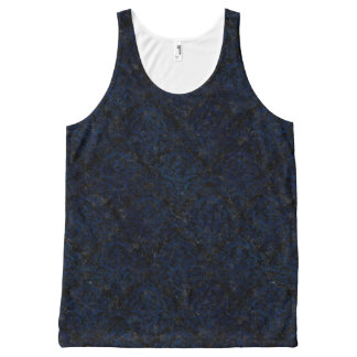 DAMASK1 ZWARTE MARMEREN & BLAUWE GRUNGE All-Over-Print TANK TOP