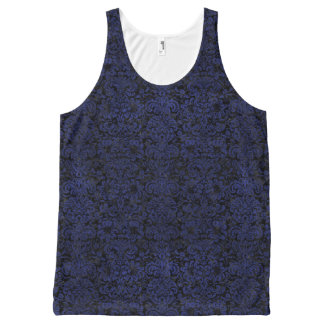 DAMASK2 ZWART MARMEREN & BLAUW LEER All-Over-Print TANK TOP