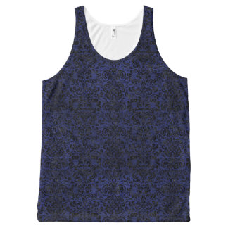 DAMASK2 ZWART MARMEREN & BLAUW LEER (R) All-Over-Print TANK TOP