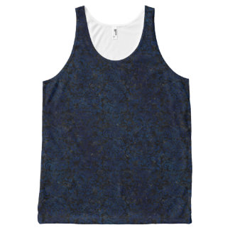 DAMASK2 ZWARTE MARMEREN & BLAUWE GRUNGE All-Over-Print TANK TOP