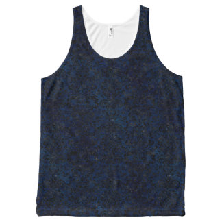 DAMASK2 ZWARTE MARMEREN & BLAUWE GRUNGE (R) All-Over-Print TANK TOP