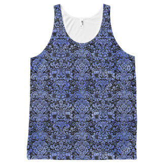 DAMASK2 ZWARTE MARMEREN & BLAUWE WATERVERF All-Over-Print TANK TOP