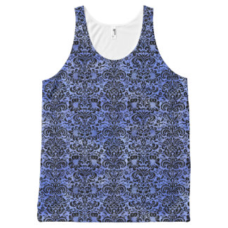 DAMASK2 ZWARTE MARMEREN & BLAUWE WATERVERF (R) All-Over-Print TANK TOP