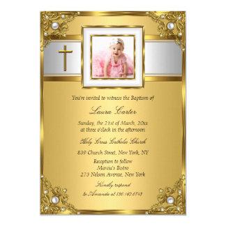 Damast & het Dwars Gouden Doopsel van de 12,7x17,8 Uitnodiging Kaart