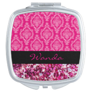 Damast met Roze Diamanten Makeup Spiegeltje
