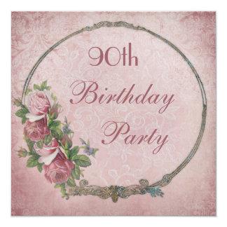damast van de Rozen van de 90ste Verjaardag het 13,3x13,3 Vierkante Uitnodiging Kaart