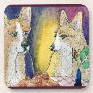 Dame & Corgi, romantische onderzetterreeks Drankjes Onderzetters