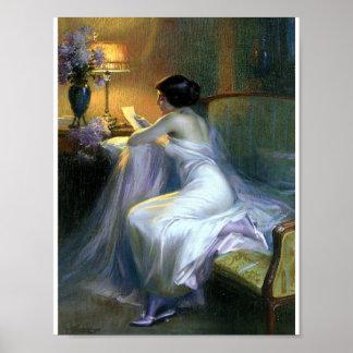 Dame die een brief antiek fijn art. leest poster
