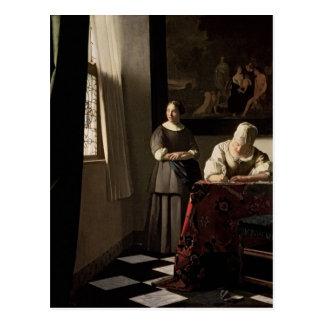 Dame die een brief met haar Meisje, c.1670 Briefkaart