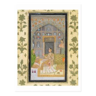 Dame gezet in een Paviljoen met bedienden, van Th Briefkaart