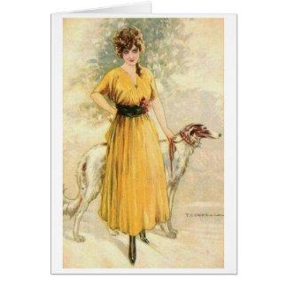 Dame in Geel met Borzoi, Briefkaarten 0