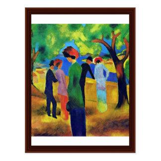 Dame in Groen Jasje door Macke Augustus Briefkaart
