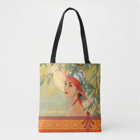 Dame in het Oranje Canvas tas van het Pet