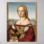 Dame met een Druk van het Canvas van de Eenhoorn Print