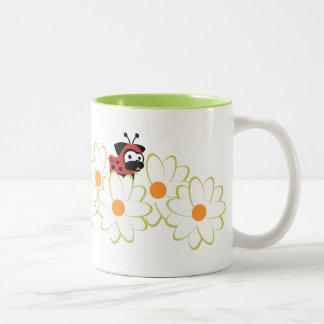 Dame Pug Mug (Bloemen White&Green) Tweekleurige Koffiemok
