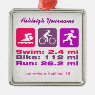 Dame Triathlete Swim Bike Run Roze Mauve Paars Zilverkleurig Vierkant Ornament