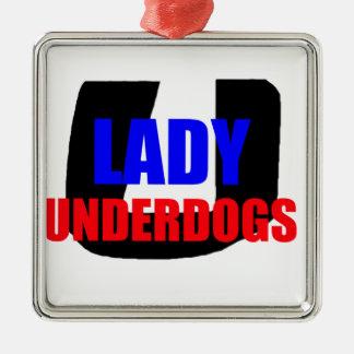 Dame Underdogs Zilverkleurig Vierkant Ornament