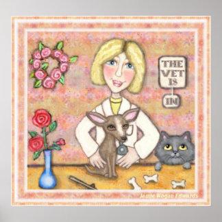 Dame Vet met Hond en Kat Poster
