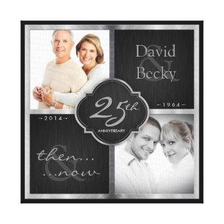 Dan en nu het 25ste Jubileum van het Huwelijk Canvas Afdruk