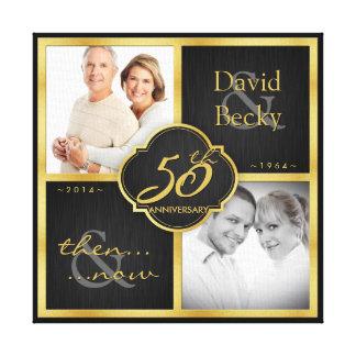 Dan en nu het 50ste Jubileum van het Huwelijk Canvas Afdrukken