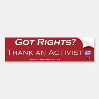 dank een activistenrood bumpersticker