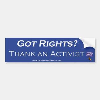 Dank een blauw van de Activist Bumpersticker