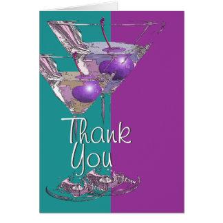 """Dank u"" blauwgroen paarse martini cocktail Kaart"