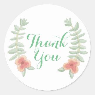 Dank u BloemenKroon Ronde Sticker