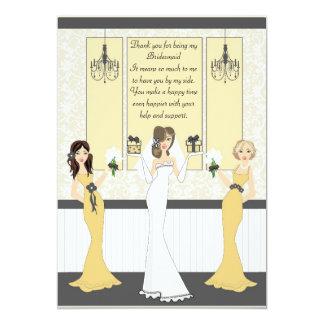 Dank u Bruidsmeisje 12,7x17,8 Uitnodiging Kaart
