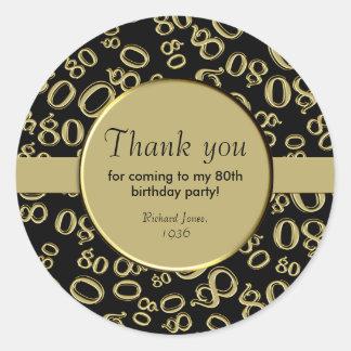 Dank u: De gouden en Zwarte 80ste Partij van de Ronde Sticker