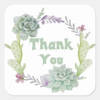 Dank u de Groene Succulente en BloemenKroon van de Vierkante Sticker