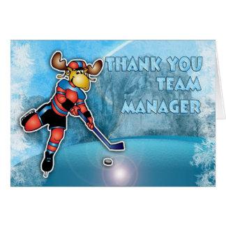 Dank u de Manager van het Team van het Ijshockey Briefkaarten 0