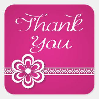 Dank u de Paarse Witte BloemenStickers van het Vierkant Sticker