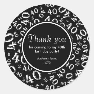 Dank u: De zwart-witte 40ste Partij van de Ronde Sticker