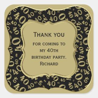 Dank u - de Zwarte en Gouden Partij van de 40ste Vierkante Sticker