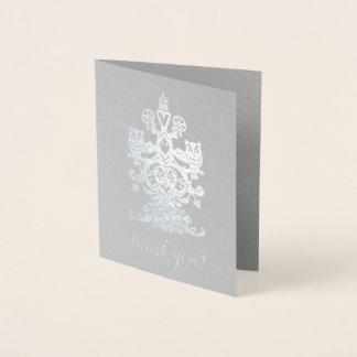 Dank u edele grijze zilveren koninklijke uilen folie kaarten