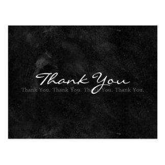 Dank u Eenvoudig Zwart-wit Bord Briefkaart