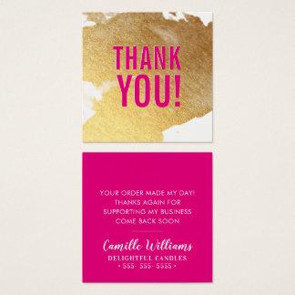DANK U glam luxe faux het gouden hete roze van de Vierkante Visitekaartjes
