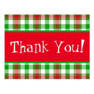 Dank u het Briefkaart van de Plaid van Kerstmis