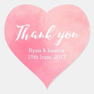 Dank u het huwelijks roze waterverf van hart sticker