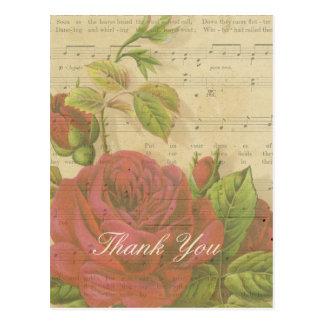 Dank u het Vintage Rode Blad van de Muziek van Briefkaart