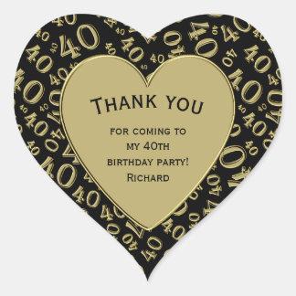 Dank u - het Zwarte en Gouden Hart van de 40ste Hart Sticker