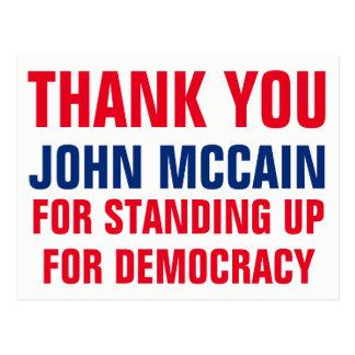 Dank u John McCain die voor Democratie opstaan Briefkaart