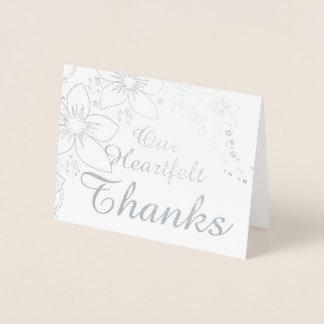 Dank u kaarden het Echte Zilveren Gouden Huwelijk Folie Kaarten