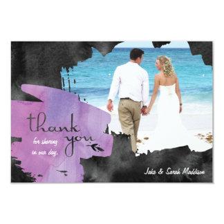 Dank u kaarden met de Waterverf van de Foto Paarse 8,9x12,7 Uitnodiging Kaart